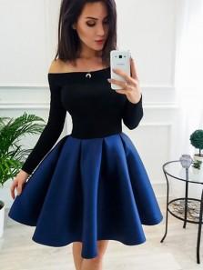 Sweet A-Line Off the Shoulder Open Back Black and Navy Satin Short Homecoming Dresses,Short Prom Dresses Under 100