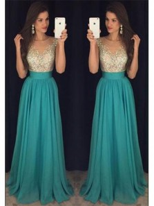 Long Charming Beading Chiffon Prom Dress,Formal Cheap Evening Dress
