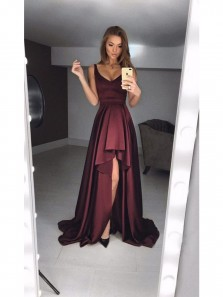 Sexy A-Line Deep V Neck Burgundy Satin High-Low Prom Dresses,Charming Formal Evening Dresses DG0918004
