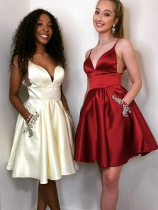 Cute A-Line Spaghetti Straps V Neck Open Back Burgundy Satin Short Homecoming Dresses with Beaded,Cocktail Party Dresses Under 100