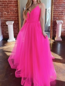 Gorgeous A-Line V Neck Rose Red Tulle Long Prom Dresses Graduation Dance Party Dresses