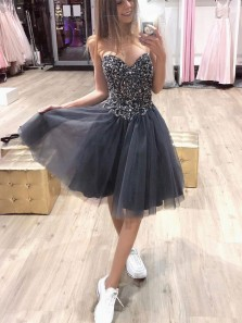Cute A-Line Sweetheart Open Back Grey Beaded Short Homecoming Dresses,Birthday Party Dresses,Short Prom Dresses