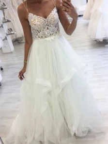 Stunning A-Line V Neck White Tulle Wedding Dress with Lace Appliques