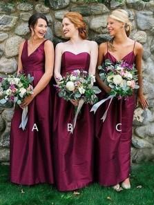 Elegant A-Line V Neck Open Back Burgundy Satin Long Bridesmaid Dresses