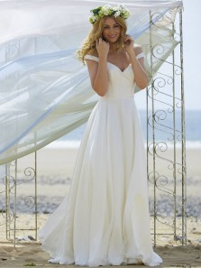 Simple A-Line Off the Shoulder Open Back White Chiffon Long Wedding Dresses,Beach Wedding Dresses