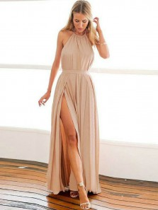 Charming A-Line Halter Backless Champagne Chiffon Long Prom Dresses with Side Split,Sexy Evening Party Dresses