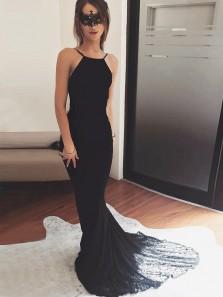 Unique Mermaid Halter Backless Black Lace Long Prom Dresses,Charming Evening Party Dresses