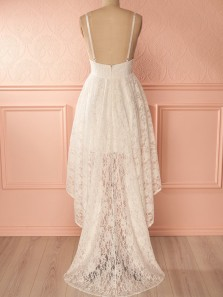 Elegant A-Line V Neck Open Back White Lace High Low Prom Dresses,Charming Evening Party Dresses