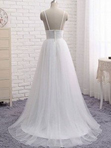 Simple A-Line V Neck Spaghetti Straps White Tulle Beach Wedding Dresses with Train