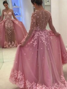 Unique Two Piece Jewel Long Sleeve Pink Tulle Long Prom Dresses with Appliques,Evening Party Dresses