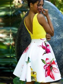 Cute A-Line V Neck Open Back Yellow and Floral Printed Satin Short Prom Dresses,Cocktail Party Dresses