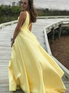 A-Line V Neck Open Back Yellow Satin Long Prom Dresses with Pockets,Evening Party Dresses