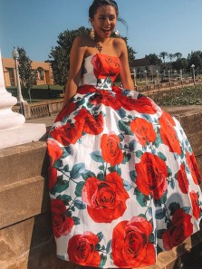 Stunning A-Line Strapless Open Back Floral Printed Satin Long Prom Dresses,Ball Gown Evening Party Dresses