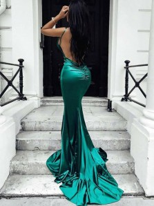 Glamorous Mermaid V Neck Spaghetti Straps Backless Hunter Green Satin Long Prom Dresses,Evening Party Dresses with Train