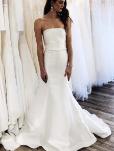 Unique Mermaid Strapless Open Back White Satin Long Wedding Dresses with Train