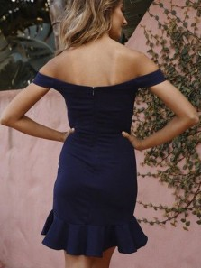 Chic Bocycon Off the Shoulder Open Back Navy Blue Satin Short Homecoming Dresses with Ruffle,Evening Party Dresses Under 100
