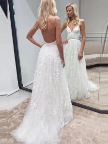 Romantic A-Line Sweetheart Spaghetti Straps Backless White Lace Wedding Dresses,Beach Wedding Gown DG1226005