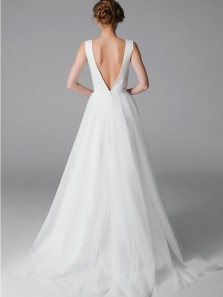 Elegant A-Line V Neck Open Back White Tulle Long Wedding Dresses,Charming Bridal Gown