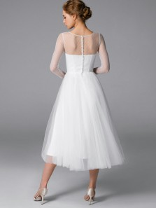 Gorgeous A-Line Round Neck Long Sleeves White Tulle Tea Length Wedding Dresses