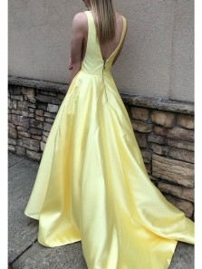Elegant A-Line V Neck Open Back Satin Long Prom Evening Dresses with Pockets,Formal Evening Party Dresses