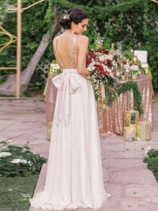 Charming A-Line Deep V Neck Ivory Chiffon Champagne Sequins Backless Long Bridesmaid Dresses
