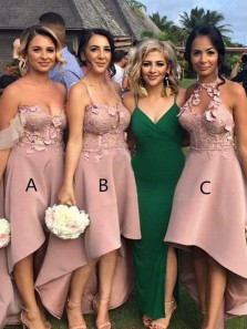 Chic A-Line Open Back Blush Satin High-Low Bridesmaid Dresses with Appliques