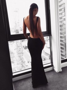Sexy Mermaid Square Neck Backless Black Elastic Satin Long Prom Dresses,Evening Party Dresses