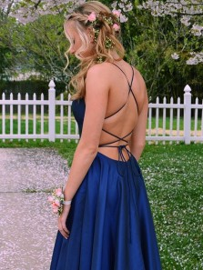 A-Line Scoop Neck Cross Back Black Satin Long Prom Dresses with Side Split,Evening Party Dresses