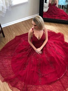 Elegant A-Line V Neck Ope Back Burgundy Tulle Long Prom Dresses with Lace,Girls Junior Graduation Gown