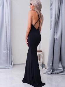Sexy Mermaid Deep V Neck Cross Back Black Elastic Satin Long Prom Dresses with High Split,Evening Party Dresses 191123005