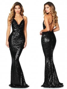 Sparkly Mermaid Cowl Neck Cross Back Black Sequins Long Prom Evening Dresses,Formal Party Dresses