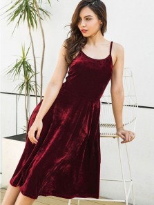 Chic A-Line Scoop Neck Open Back Burgundy Velvet Knee Length Homecoming Prom Dresses DG0918005