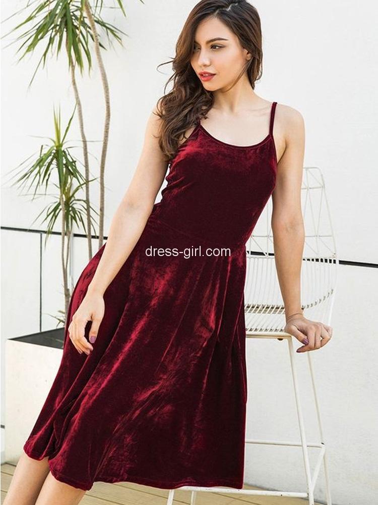 b5293fb9d22 Chic A-Line Scoop Neck Open Back Burgundy Velvet Knee Length Homecoming  Prom Dresses DG0918005