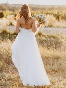 Unique A-Line Sweetheart Open Back White Tulle Wedding Dresses with Lace
