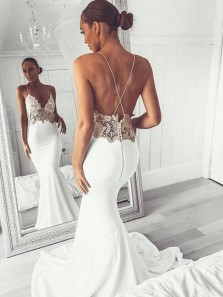 Glamorous Mermaid V Neck Spaghetti Straps White Satin Long Prom Dresses with Appliques,Simple Wedding Dresses 191118005