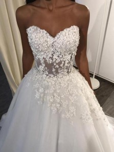 Romantic Sweetheart Open Back White Tulle Wedding Dresses,Lace Wedding Gown