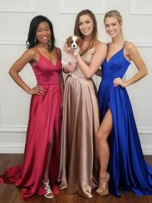 Charming A-Line V Neck Spaghetti Straps Open Back Royal Blue Satin Long Prom Dresses,Evening Party Dresses