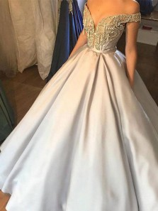 Luxurious Gothic Ball Gown Off Shoulder Satin Rhinestone Long Wedding Dress