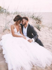 Romantic A-Line V Neck Open Back White Tulle Wedding Dress,Lace Wedding Dress