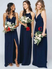 Simple A-Line V Neck Navy Blue Chiffon Long Bridesmaid Dresses Under 100
