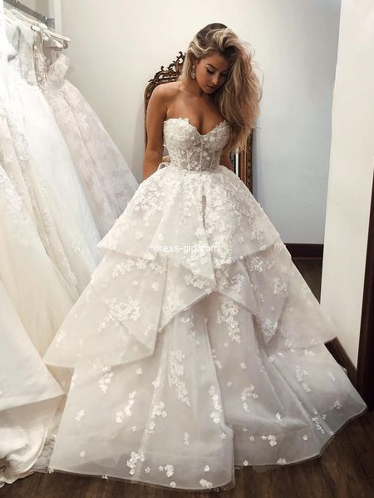 Ball Gown Sweetheart Open Back White Tulle Wedding Dresses Lace Bridal Gown