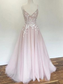 Princess A-Line V Neck Spaghetti Straps Open Back Pink Tulle Long Prom Dresses with Appliques,Formal Party Dresses