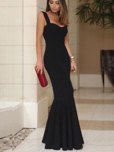 Straps Mermaid Sweetheart Open Back Black Satin Long Prom Dresses,Evening Party Dresses