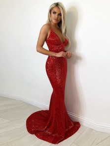 Shiny Mermaid Deep V Neck Open Back Red Sequins Long Prom Dresses with Train,Evening Party Dresses