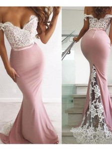 Mermaid Off the Shoulder Open Back Blush Pink Satin Long Prom Dresses with White Lace,Formal Party Dresses