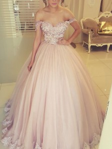 Ball Gown Off the Shoulder Open Back Blush Tulle Long Prom Dresses with Appliques,Girls Junior Graduation Gown,Quinceanera Dresses