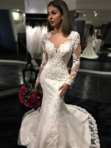 Elegant Mermaid Long Sleeve Ivory Lace Wedding Dresses with Train