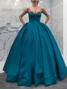 Ball Gown Sweetheart Open Back Peacock blue Satin Long Prom Dresses with Pockets,Formal Party Dresses
