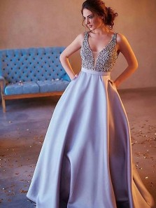 Charming Beaded A-Line V Neck Open Back Grey Satin Long Prom Dresses with Pockets,Evening Party Dresses
