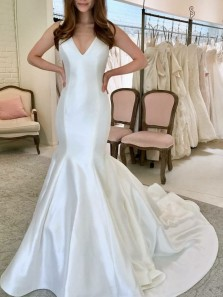 Elegant Mermaid V Neck Open Back Ivory Satin Wedding Dresses with Train
